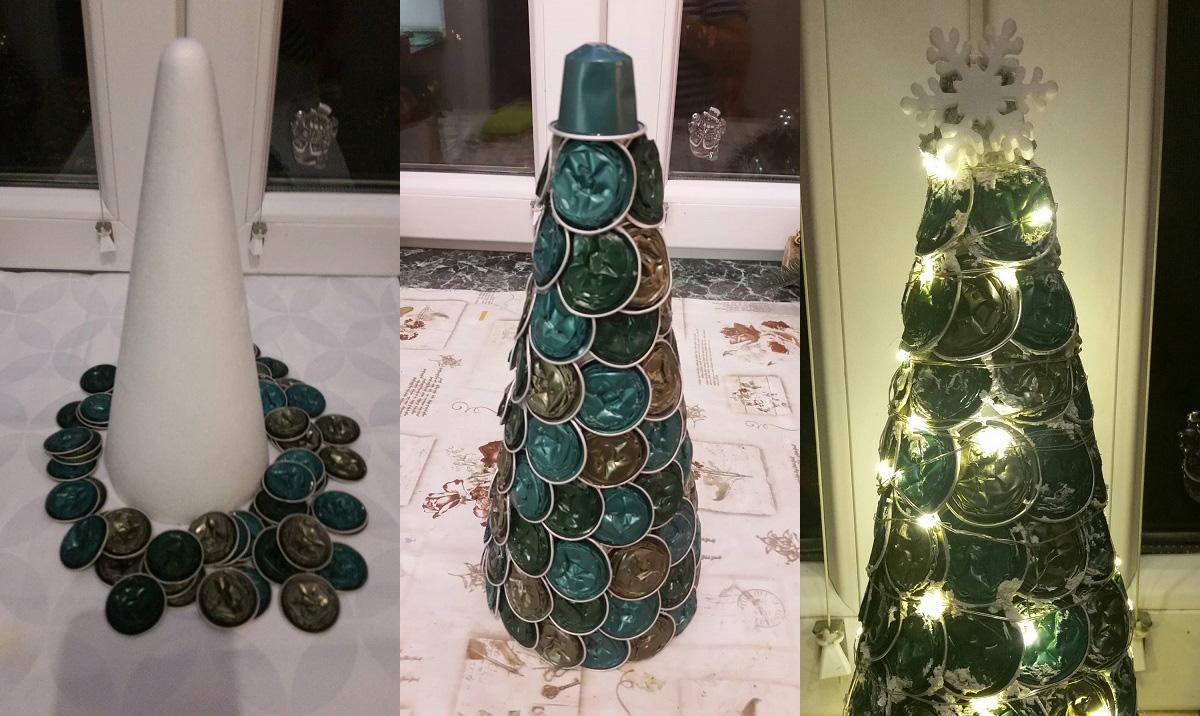 Az első lépés, a majdnem végeredmény és a fényekkel díszített kávékapszula alternatív karácsonyfa.