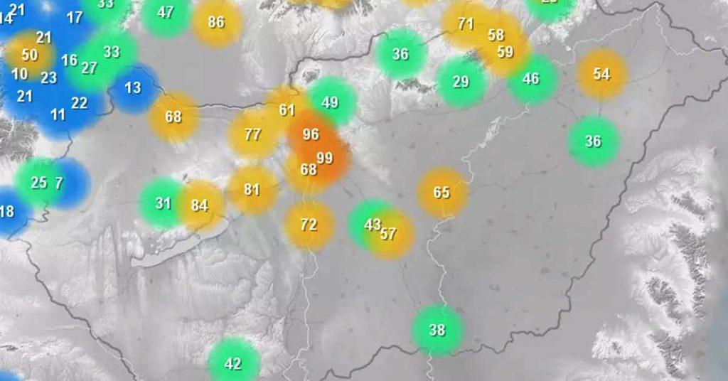 Egészségtelen a levegő Magyarország több pontján is. / Fotó: idokep.hu