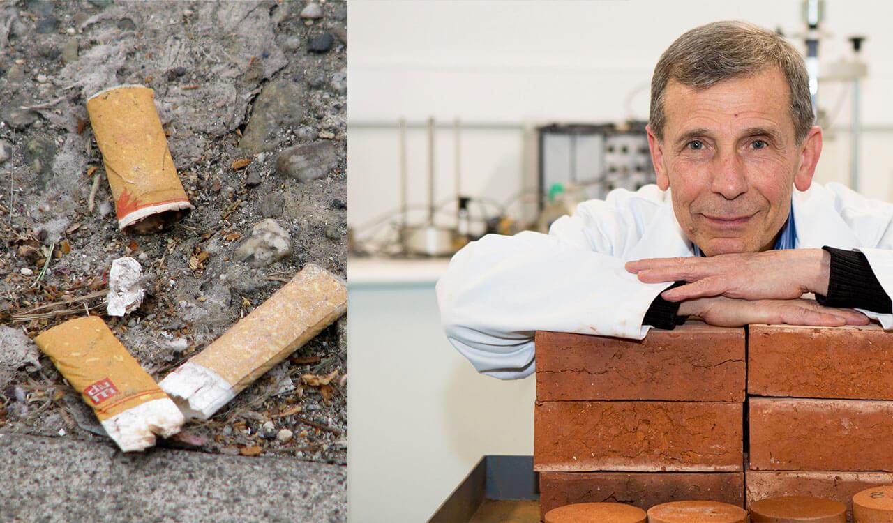 Cigicsikk-újrahasznosítás A kutató és az általa készült téglák. / Fotó: springwise.com