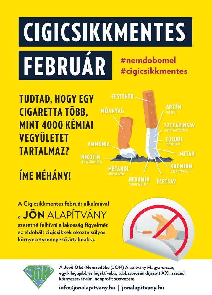 Cigicsikkmentes február kihívás plakátja, ami Budapesten több ponton is még a mai napig látható.