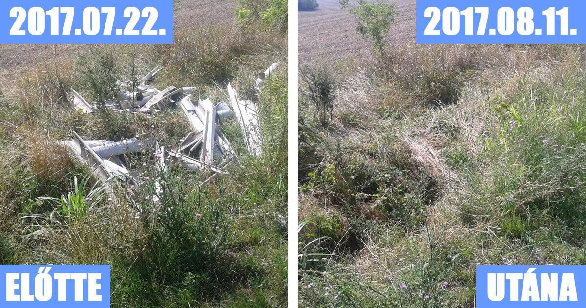 Pilis Káva településen lerakott hulladékot egy hónapon belül felszámolták a bejelentés hatására.
