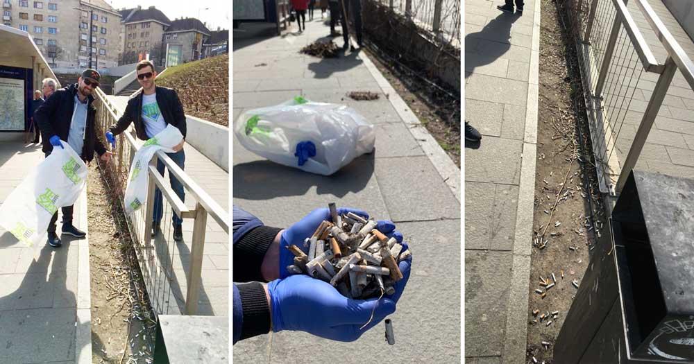 A tér egyes pontjain marokszámra lehetett szedni az eldobált cigicsikkeket. / Fotó: hulladekvadasz.hu