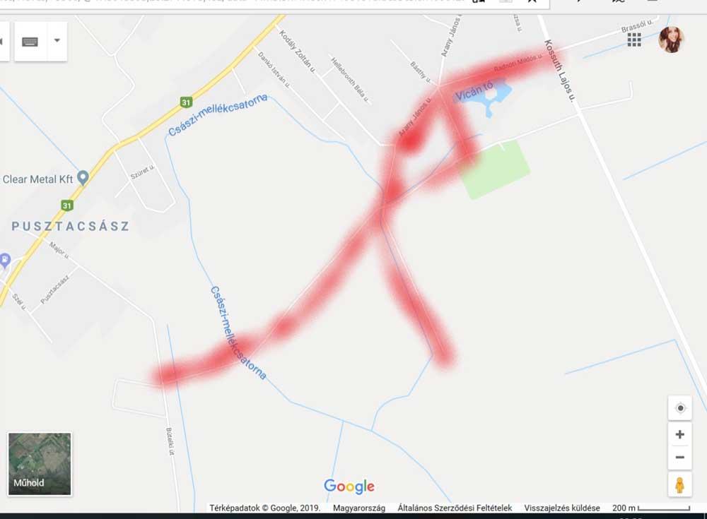 A bejelentő által bejárt és bejelentett hulladékkal szennyezett terület. / Fotó: Google Maps