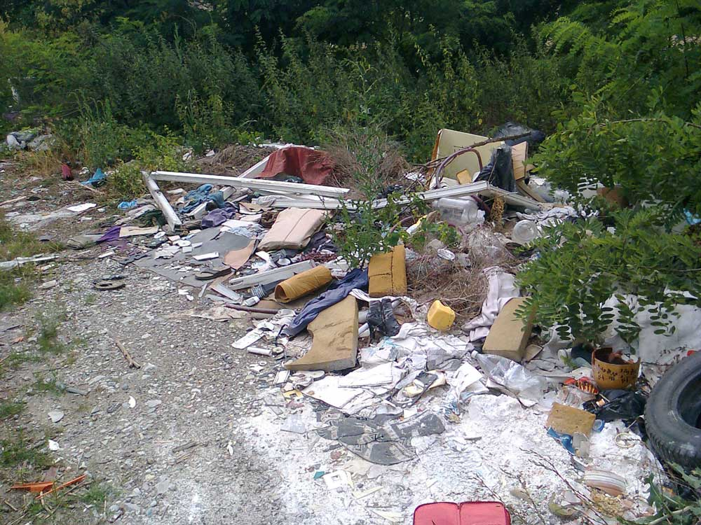 A területen nagy mennyiségben található építési és kommunális hulladék.