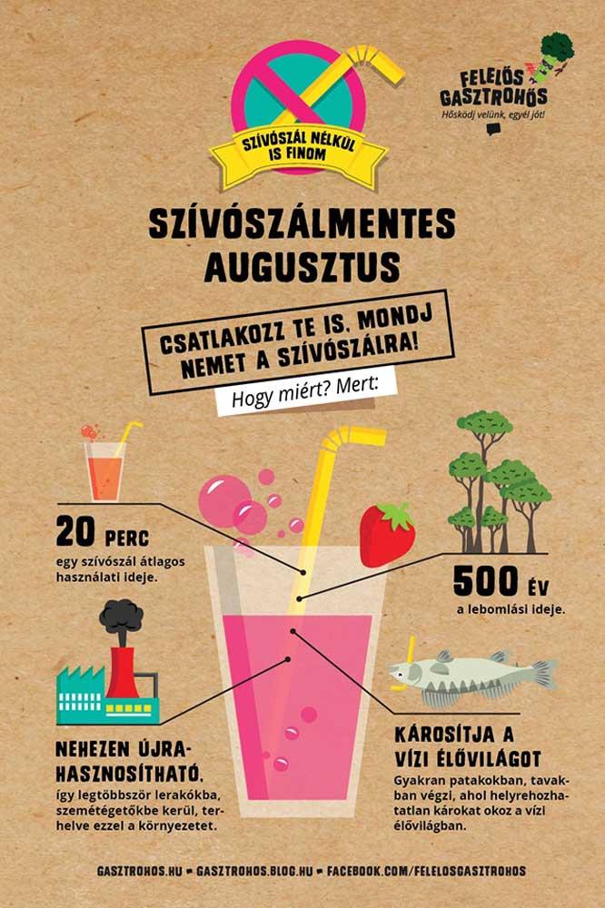 A szívószálmentes augusztus 2019-es plakátja. / Fotó: gasztrohos.hu