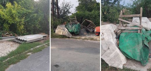 Utcán tárolt építési hulladék Dunaújvárosban