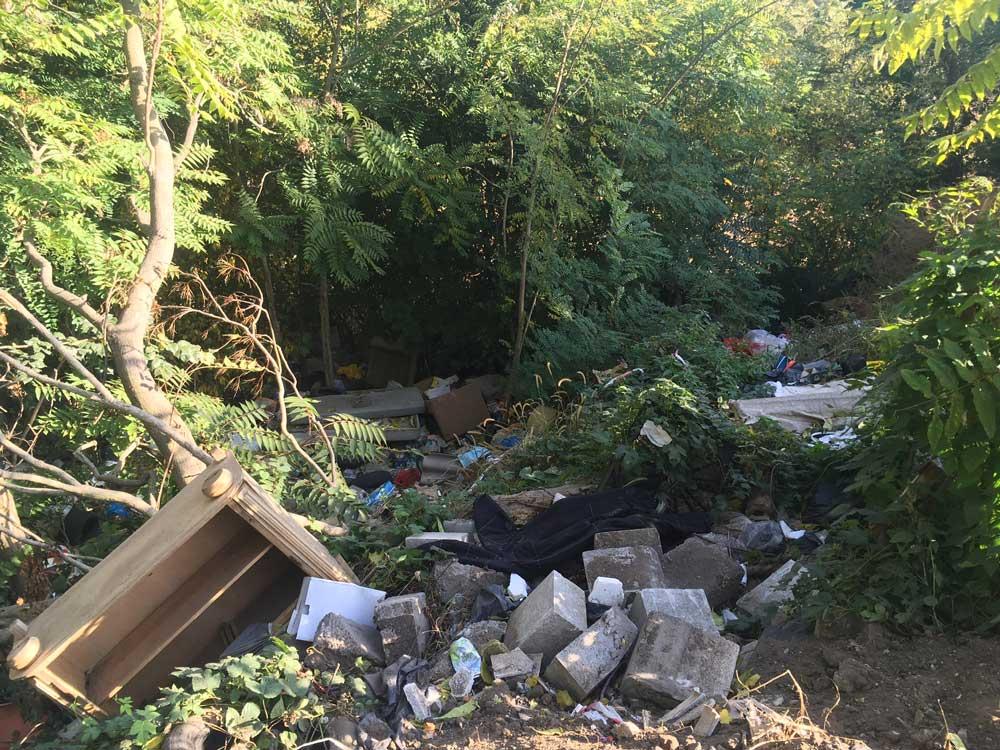 A helyszínen a kommunális (lom) hulladéktól egészen az építési hulladékig minden megtalálható.